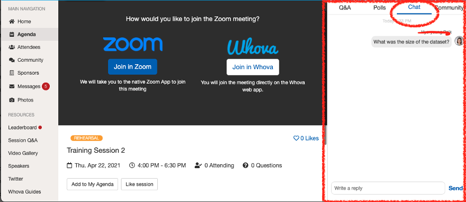Whova chat function